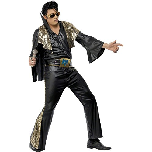 NET TOYS Costume d'Elvis Presley Noir et Or Taille L 52/54 Costume d'Elvis Tenue Rock'n Roll Rockabilly déguisement Costume de scène
