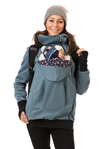 GoFuture – Giacca da donna a canguro per mamma e bambino, classica felpa con collo alto Viva Blu jeans (grigio blu/petrolio) con funghi su blu marino. M
