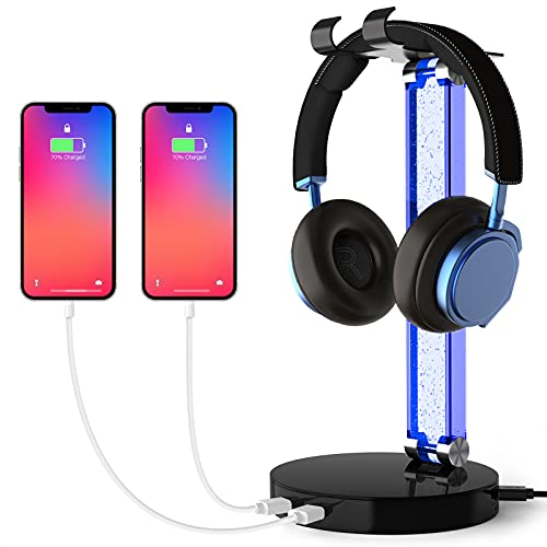 MOCREO RGB Headphone Stand with 2 USB Charger Ports, Desk Gaming...