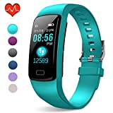 PUBU Fitness Tracker, IP67 Waterproof Fit Watch with Heart Rate Monitor,Sleep Monitor, Pedometer Watch for Women Men Kids (Light Aqua Blue)
