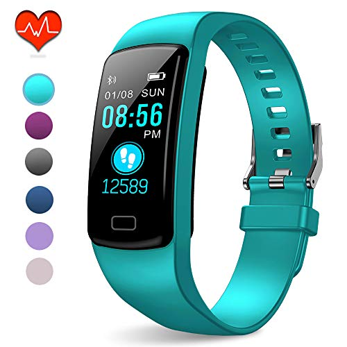 PUBU Fitness Tracker, IP67 Waterproof Fit Watch with Heart Rate Monitor,Sleep Monitor, Pedometer Watch for Women Men Kids (Light Aqua Blue)