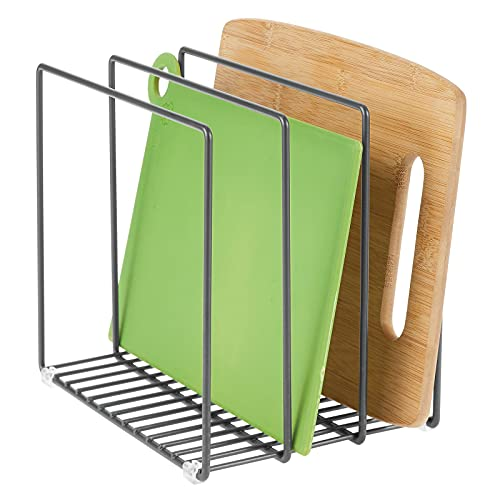 mDesign Metal Wire Organizer Rack for Kitchen Cabinet, Pantry, Shelves - Organizer Holder, 3 Slots for Skillets, Frying Pans, Lids, Cutting Boards, Vertical or Horizontal Placement - Graphite Gray