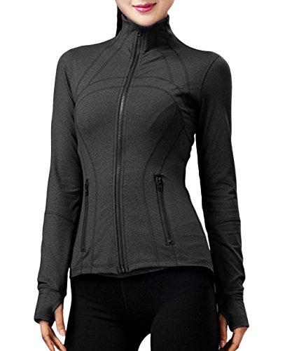 UDIY Women Running Yoga Slim UV Protect Sweatshirts with Two Side Pocket Jacket Coat (Grey, US XL(Weight:175-185 lbs Height:5'13
