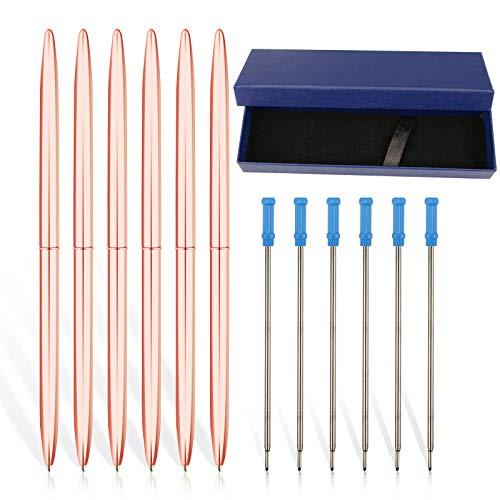 Paquete de 13 – 6 bolígrafos premium de oro rosa más 6 recambios de tinta azul extra en 1 caja de regalo brillante bonito bolígrafos para regalo de oficina y suministros de negocios para mujeres.