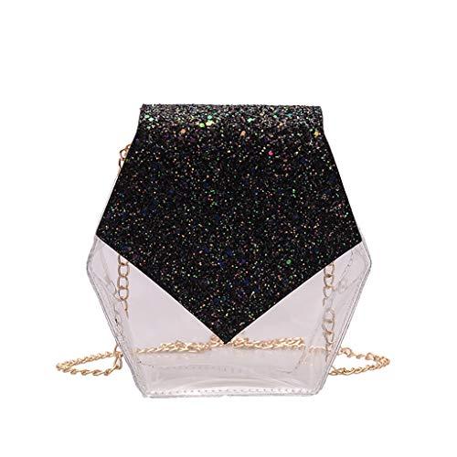 Ouneed Donna Crossbody Bag Sparkle Flap Borsa a Tracolla Piccola Borsa a Tracolla in Metallo a Forma di rombo per Donna Donna Bambina Uso Quotidiano Doppio