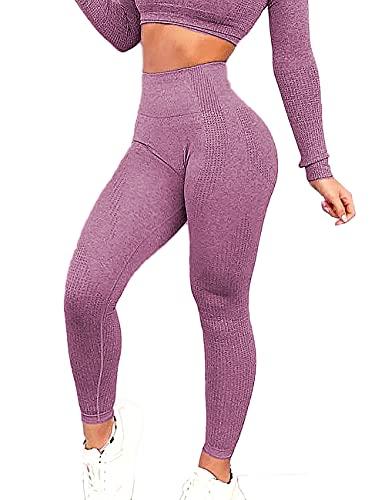 RIOJOY Women Energy Seamless Yoga Leggings Slimming Tummy Control Compression Tights 2 Roseo M
