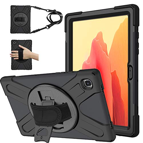 TOMSAM Case for Samsung Galaxy Tab A7 10.4'', Heavy Duty Rugged Shockproof Drop Protection Case with Stand, Handle Hand Strap & Shoulder Strap for Galaxy Tab A7 10.4 Inch SM-T500/T505/T507 (Black)