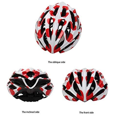 Pkfinrd Fahrradhelm Mountainbike fahrradhelm männer und Frauen Sicherheit fahrradhelm Mountainbike Fahrrad leicht schlagfester Helm hohl atmungsaktiv verstellbar@Weißer roter Punkt_Eine Größe