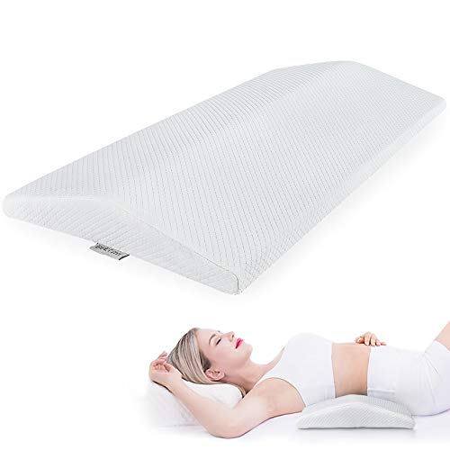 PETSHY Lumbar Support Pillow for Sleeping, Back Support Bed Pillow, Memory Foam Spine Pillow for Lower Back Pain Sleeping on Side, Lying, Ergonomic Therapeutic Pillows Under Waist, Knee, Leg