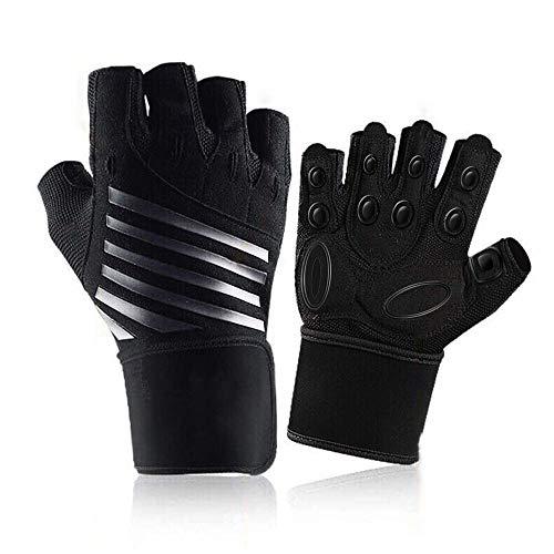 Hually, guanti da palestra, protezione del palmo imbottita e presa extra, guanti traspiranti da allenamento per uomini e donne, per esercizi di body building, fitness, ciclismo, taglia XL
