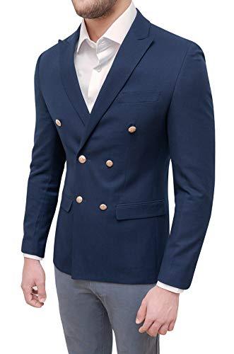 Evoga Giacca Uomo Sartoriale Doppiopetto Blazer Invernale Slim Fit Elegante (XL, Blu Scuro)