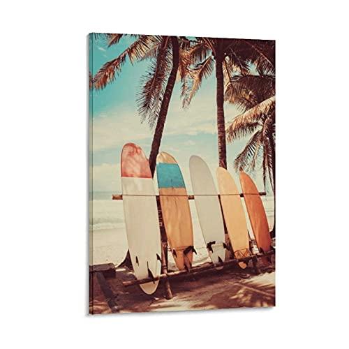 TYJFG Tabla de surf Palmera Playa Surfer Surfing Poster Pintura Decorativa Lienzo Arte de la pared Carteles Sala de estar Pintura Dormitorio 50 x 75 cm
