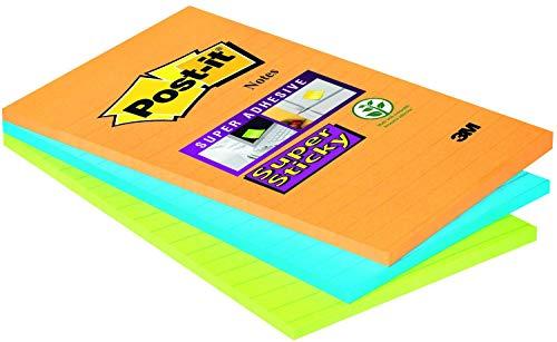 Post-it 51335 Super Sticky Foglietti a Righe, 45 Fogli, Confezione da 3 Blocchetti, 102 x 152 mm, Neon