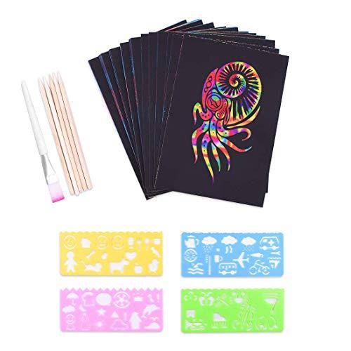 Set di carta da raschiare per bambini, 50 fogli grandi, arcobaleno, carta per disegnare e fai da te, con stencil, matite in legno e adesivi. 13 x 19cm