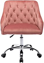 Goujxcy Home Office Chair,Velvet Desk Chair with Metal Base,Modern Adjustable Swivel Chair (Pink Type 2)