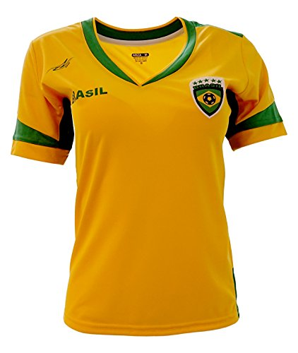 Arza Sports Brazil Slim Women Soccer Jersey (Small) Yellow