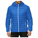 Allywit-Mens Puffer Jacket with Hooded Parkas Thicken Warm Padded Jacket Windproof Outdoor for Winter Coat Blue