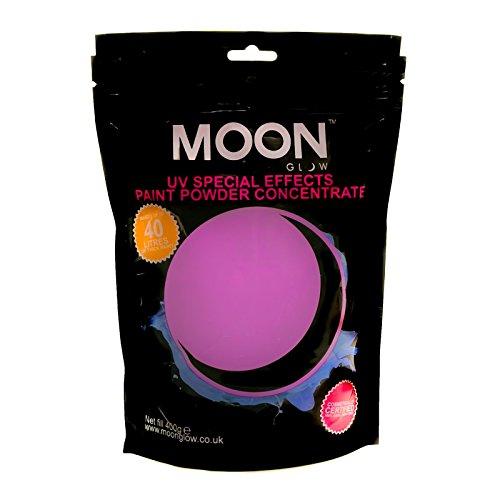 Moon Glow – Poudre pour peinture UV 400 g. Violet Peinture fluo en poudre concentrée pour les fêtes et les effets spéciaux. Pour fabriquer jusqu'à 40 litres de peinture