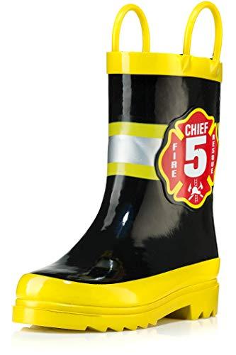 AccessoWear Little Boy's Black Fire Chief Rain Boots - Size 10