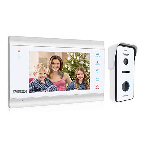 TMEZON Video-Türsprechanlage, 1080p, Türeingangssystem mit 17,8 cm (7 Zoll), 1-Monitor, 1 Kamera für 1-Familienhaus, Touch-Taste, Nachtsicht, unterstützt automatische Schnappschuss/Aufnahme