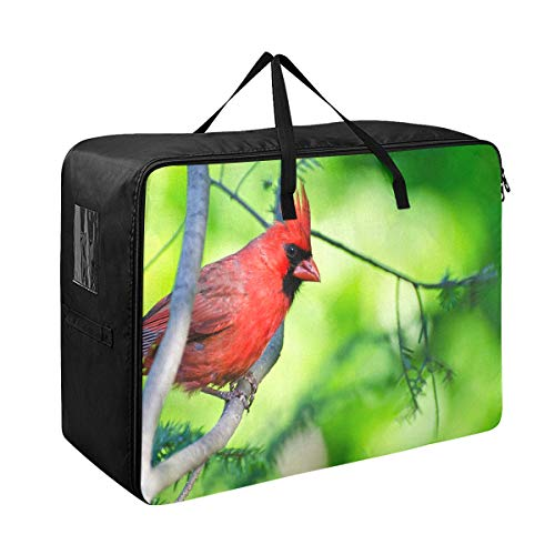 Large Storage Bins Northern Cardinal Perched Tree Blankets Clothes Bedspread Storage Bag Fabric Closet Organization Sweater Duvet Storage Bags for Storing Bulky Bedding Accessories Wardrobe