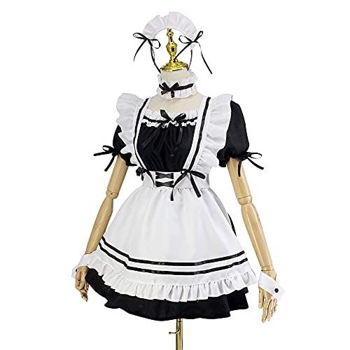 Francuska pokojówka fantazyjny zestaw sukienek, francuska pokojówka Halloween, damski tradycyjny kostium Alicja Fancy Dress kostium, 6 szt. jako zestaw zawiera sukienkę, fartuch, sztuczny kołnierz, nakrycie głowy, rękawy, koło nóg (czarny i biały, rozmiar XXL)