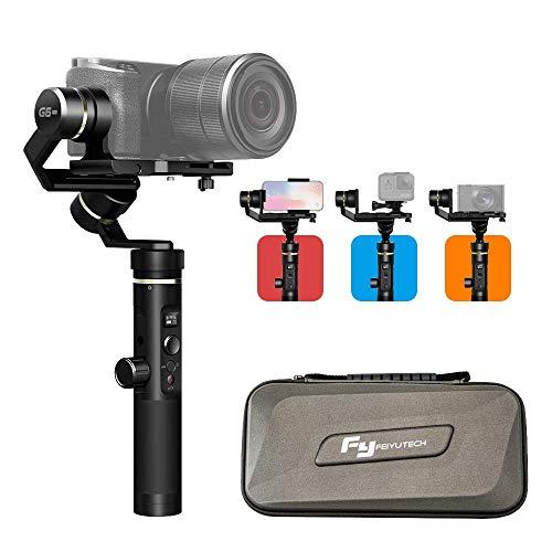 FeiyuTech G6 Plus Stabilisateur à 3 axes universel pour smartphone mobile iPhone, Sony RX100 A6300 A6400 A6500 Caméra DSLM sans miroir et caméra d'action Gopro Hero 6/5/4, SONY RX0, YI-4K