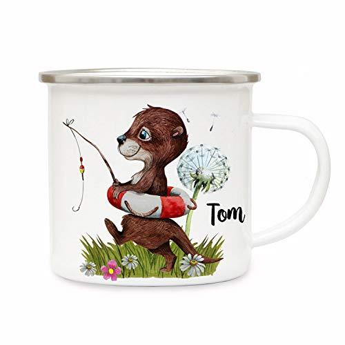 ilka parey wandtattoo-welt Emaillebecher Becher Tasse Camping Otter angelt mit Schwimmring Pusteblume & Wunschname Name Kaffeetasse Geschenk eb368