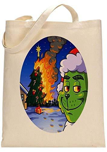 Grinch Christmas Tree On Fire Custom Made Tote Bag