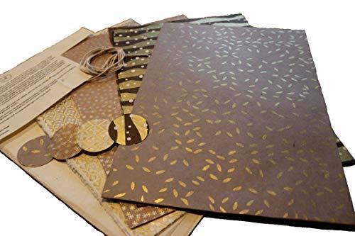 Maharanis Fairtrade Handgeschöpftes Papier Lokta Daphne Papier zum Verpacken, Basteln und mehr 4er Set in Naturfarben aus nachhaltiger Handwerksfertigung