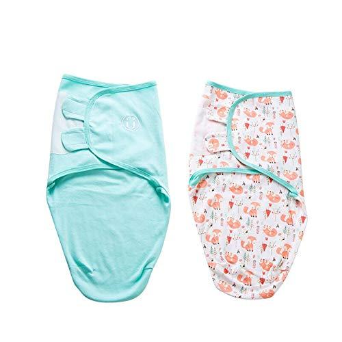 Manta Envolvente para Bebé y Recien Nacido – 2x Saco de Dormir Manta de Arrullo Cobija 100% Algodón - Para Bebes Recien Nacidos (0-2 meses, Turquesa)