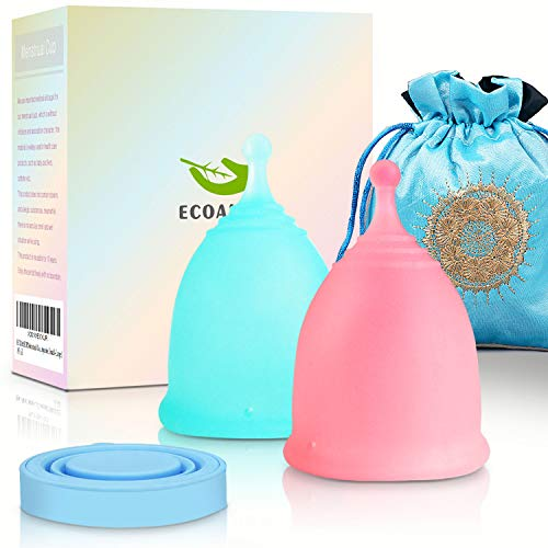 ECOAMOR Menstrual Cups, 2-Pack Tampon Alternatives Moon Cup with 1 Silicone...