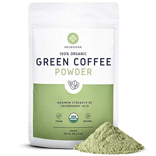 Neurogan Organic Green Coffee Bean Powder Extract with Ingredients to Help Support Normal Weight Loss - 7oz / 200g, Maximum Strength Chlorogenic Acid - 100% Organic, Non-GMO, Vegan Friendly