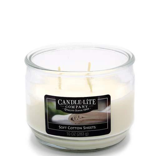 Candle-lite – 3 Mèche de Bougie dans Verre, Soft Cotton Sheets 283 g, Blanc, 10,5 x 10,5 x 8.2 cm