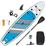 SMOOL Tabla de Surf de Remo Hinchable de 15 cm de Grosor, Juego Completo de Tabla Sup, Bomba de Alta presión, Remo, Mochila, Juego de reparación de 145 kg (Raya Azul 320cm)