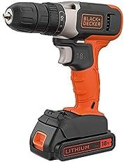 Black+Decker 18V 1.5Ah Li-Ion Cordless Drill Driver for Wood Drilling & Screwdriving/Fastening, Orange/Black - BCD001C1-GB, 2 Years Warranty