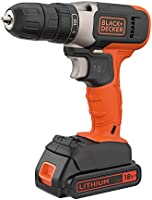 Black+Decker 18V 1.5Ah Li-Ion Cordless Drill Driver for Wood Drilling & Screwdriving/Fastening, Orange/Black -...