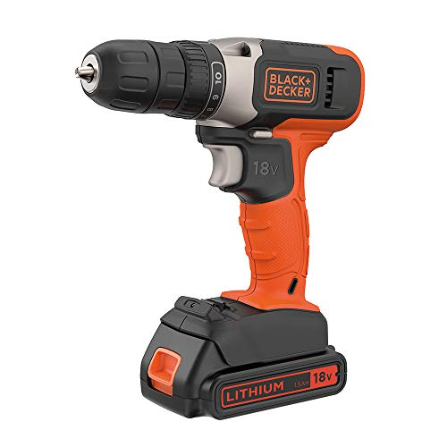 BLACK+DECKER 18 V Cordless Drill Driver with 10 Torque Settings, 1.5 Ah Lithium-Ion Battery, BCD001C1-GB