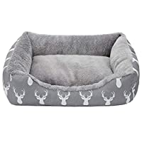 Overall dimensions: 50.8 * 38 * 15 cm. Suitable for most cats and small size dogs. Mainly made in outer printed flannel and inner Arctic velvet, very soft and warm. Lightweight design for maximum portability. Designed for ALL-SEASON use. Plush fabric...