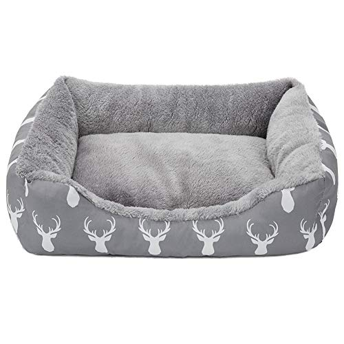 Hollypet Printed Flannel Rectangle Plush Cat Bed Small Dog Bed Self-Warming Pet Bed, Gray Antlers