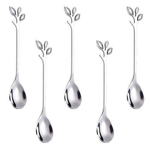 Coffee Spoon setAnSaw 5 Pcs 47quot teaspoonsCreative Silver Leaf Dessert Spoons Premium Food Grade Stainless SteelMirror Finish amp Dishwasher Safe Silver 5