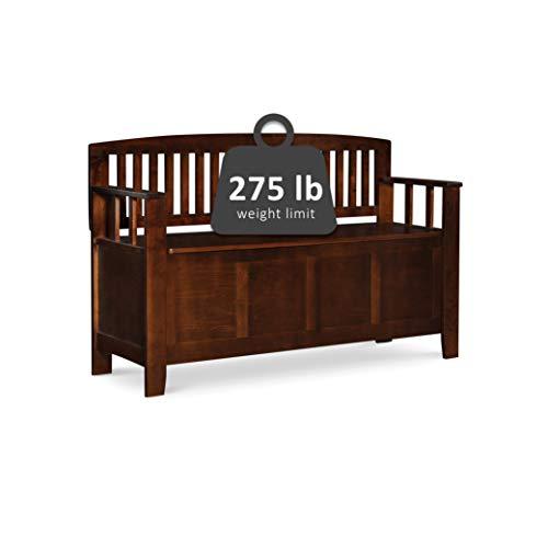 "Product Image 4: Linon Home Dcor Linon Home Decor Cynthia Storage Bench, 50""w x 17.25″d x 32″h, Walnut"