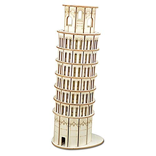 SJYDQ MKJHEDLSC Handmade Puzzle,Leaning Tower of Pisa Model 3D Assembly Wooden Puzzle DIY Crafts Kit Brain Teaser Gift for Adults