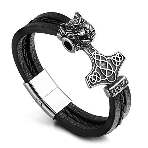 PiercingJak Herren 3D Wolf-Kopf Magnet Armband Keltischer Knoten Lederarmband Thors Hammer Wikinger Schmuck Armbänder