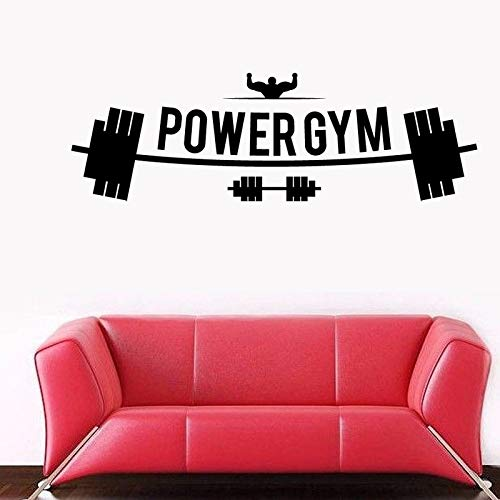 Fitness Club Power Gym Decal Gym Sticker Dumbbell Posters Vinyl Wall Decals Wall Stickercor Mural Gym Sticker 30X94CM