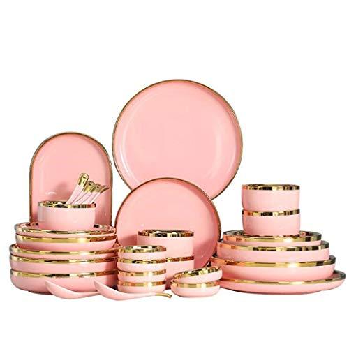Cfcjtz Gilt Rim Pink Placa Placa Placa DE ALIMENTACIÓN Nordic Style VATIRWARE Tot Cena DE Cena DE Cena DE Porcelain DE Porcelain DE PORCELANO