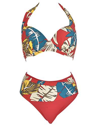 Mermaid Damen-Bikini mit V-Ausschnitt und hohem Schal Größe L, Rot 48