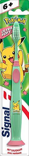 Signal Junior Zahnbürste (für Kinder ab 6 Jahren mit flexiblen V-Borsten Ultra Soft ), mit Saugnapf, 1er Pack
