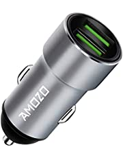 AMOZO 3A Dual Port Rapid Fast Car Charger - Metal Strong Body Shockproof Charger for Car (Grey)