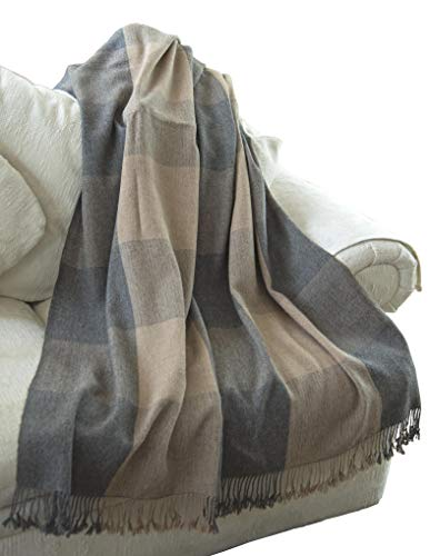EE Ella Ember 100% Alpaca Wool Luxury Plaid Blanket Throw - Ethically Produced - Handmade - Washable (Beige - Grey)